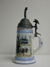 German Porcelain  Naval Regimental Stein With Pewter Lid and Lithophane Bottom