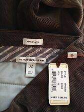 NWT Peter Millar Nonoluxe Coco Brown Cords Corduroy Pants Men's Trousers 32 $145