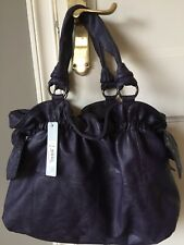 BNWT Red Herring Tote Bag with studded bow detail - deep heather