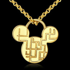 Lovely 18k 18ct Gold Filled Micky Mouse Head Pendant Necklace Gift N527