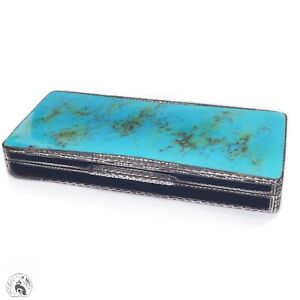 Antique 935 sterling silver turquoise enamel compact case art deco