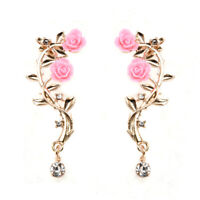 Summer Jewelry Women Rose Flower Leaf Crystal Gold Plated Ear Stud Cuff Earring