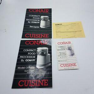 MANUAL & RECIPES FOR CONAIR CFP-500 FOOD PROCESSOR VGC