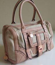 New Gen.Sam Edelman Natural Canvas,Pink Leather & Rose Gold Brigitte Satchel Bag