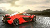 McLaren P1 - Orange Super Car Mountain Landscape Wall Poster / Canvas Pictures