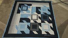 Gim Renoir foulard 76x76 vintage scarf  woman blue white geometric square