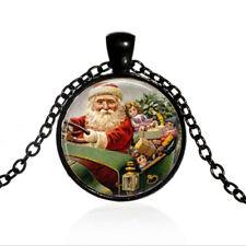 Vintage Santa Clause Holiday Cabochon Black Glass Chain Pendant Necklace