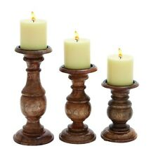 Benzara Short And Sweet Wooden Candle Holder Set Of Three In Natural Wood Finish