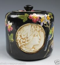 BRETBY ART POTTERY Black Covered Jar 3 Profile Portraits Painted Birds