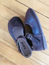 Euc Dark Brown Soft Leather Mary Janes Flats Toddler 12 Shoes Arch Support
