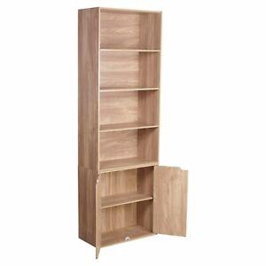 6 Tier Bookcase with Double Door Cupboard Cabinet Display Rack Wooden Shelf Oak