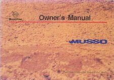 1996 SSANGYONG MUSSO BETRIEBSANLEITUNG OWNERS MANULA HANDBOOK MANUAL ENGLISCH