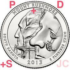 2013 P D S Mount Rushmore National Memorial STATE PARK QUARTER 3 Coin set #20 Mt