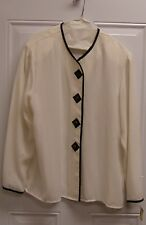 Alexandria Women's Ivory Blouse trimmed in Black Size 16 NWT