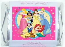 60 PERSONALIZED DISNEY PRINCESS BIRTHDAY CANDY WRAPPERS FAVORS STICKERS DECALS