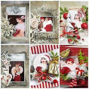 AN  ART DECO CHRISTMAS 12 Embellishments, Card Making Toppers, Card Toppers