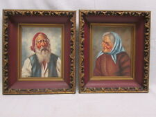 Old Man & Woman Signed #3681 & 3685 Oil Canvas Paintings Framed Salcas Salces