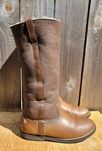 FRYE CELIA TALL BROWN LEATHER SHEARLING LINED BOOTS WOMEN'S sz 9