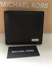 NWT 5186 Authentic MICHAEL KORS Men Double Billfold Wallet BLACK Leather
