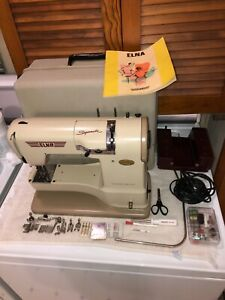 Vtg. Elna Supermatic Sewing Machine 722010 With Carry Case & Manual Attachments