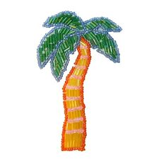 ID 8965 Tropical Palm Tree Patch Island Beach Coconut Beaded Iron On Applique