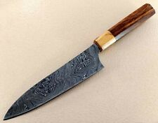 Japanese Style  Hand Made Damascus Chef  Knife with Rose and Olive wood Handle