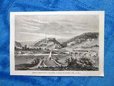 Gravure Année 1861 - Canal et chemin de fer+ Ruines de Lutzelbourg (France)