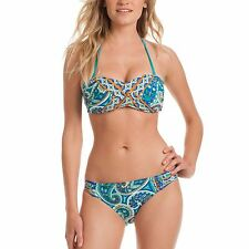 2 pc Trina Turk Bikini Bandeau Provence Paisley Pool Blue Orange Swimsuit NWT 10