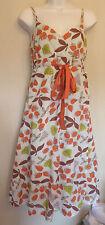 White Stuff UK8 EU36 US4 stone cotton leaf patterned lined mock wrap dress