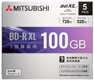 VBR520YP5D1 MITSUBISHI Blu-ray Disc 5 Packs 100 GB 4X Speed BD-R XL Printable
