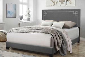 Contemporary Gray Upholstered Queen Bed Frame