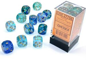 Chessex Nebula Oceanic with Gold 12 Dice Set - 6 Sided 16mm d6 - Luminary/Glow