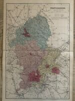 1884 Staffordshire Original Antique Hand Coloured County Map by Edward Weller