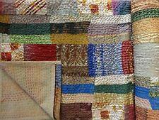 Indian Queen Silk Sari Patchwork Kantha Quilt Reversible Blanket Vintage Throw