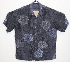 TOMMY BAHAMA Mens Medium Black Button Up Hawaiian Floral SS Silk Shirt Medium