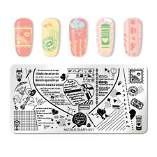 NICOLE DIARY Nail Stamping Template Love Letter Rectangle Image Print Template