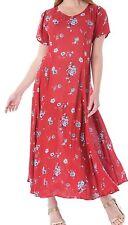 New-Red Maxi Crinkle Dress-Vintage Blue Floral Print-Short Sleeves - Size 16-18
