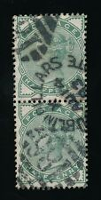 IRELAND 1893 TOO LATE DUPLEX DUBLIN PILLARS on PAIR of QV 1/2d GREEN SG165