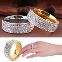 Stainless Steel Gold Silver Crystal Ring Men/Women Wedding Band Rings Size 7-12