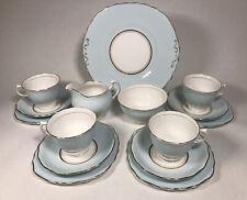 More details for colclough blue tea set cups saucers plates cake plate jug bowl england china