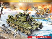 683pcs WW2 Tank T-34 Soviet Building Blocks  Vehicle Aircraft Boy Toys Figures