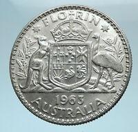 1963 AUSTRALIA - UK Queen Elizabeth II SILVER FLORIN Coat-of-Arms Coin i78183