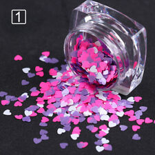Heart Shape Nail Sequins Stickers Tips Mixed Color Glitter Paillette Decoration