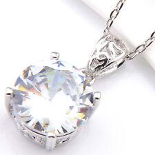Topaz Platinum Plated Necklace Pendants 12Mm Round Gemstone Natural White Fire