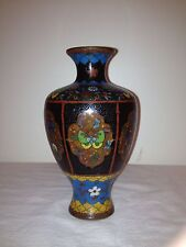 "Antique Cloisonne Vase Hexagonal, Butterflys Flowers and Orb Panels 5.5"" Nice!"