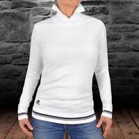 Adidas Damen Strick Pullover Rollkragen Pulli Jumper Rolli Golf Sweat Shirt weiß