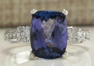 4.92 Carat Natural Tanzanite 14K White Gold Diamond Ring