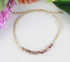 12PCS Brown glass seed braided raffia wish bracelet #21619