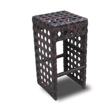 NEW! WOVEN WICKER OUTDOOR BAR CHAIR - LUXURY BROWN RATTAN BARSTOOL-AVON-SET OF 4