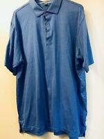 Peter Millar Mens XL Polo Shirt Blue Striped Short Sleeve Golf w Pink Buttons
